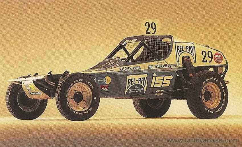 "Original studio shot of the ""Bel-Ray Bullet"" driven by Bud Feldkamp and Malcolm Smith"