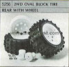Tamiya 50256 2WD OVAL BLOCK TIRE REAR WITH WHEEL