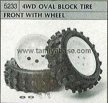 Tamiya 4WD OVAL BLOCK TIRE FRONT WITH WHEEL 50233