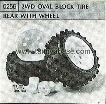 Tamiya 2WD OVAL BLOCK TIRE REAR WITH WHEEL 50256