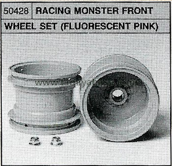 Tamiya RACING MONSTER FRONT WHEEL SET (FLUORECENT PINK) 50428